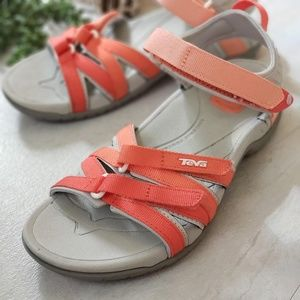 Womens Teva  outdoor sandals coral pink gray 7